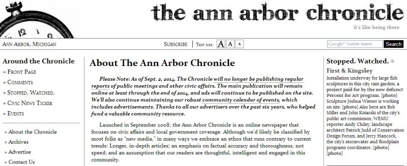 The Ann Arbor Chronicle website.