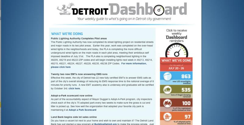 The Detroit Dashboard webpage aims to keep people updated on progress made via city services. Features include a count of the number of blighted homes removed, streetlights installed and vacant lots mowed.