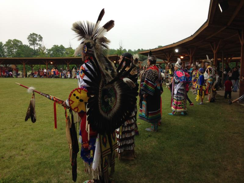Dancers line up during the Grand Entry at the Hannahville Pow Wow