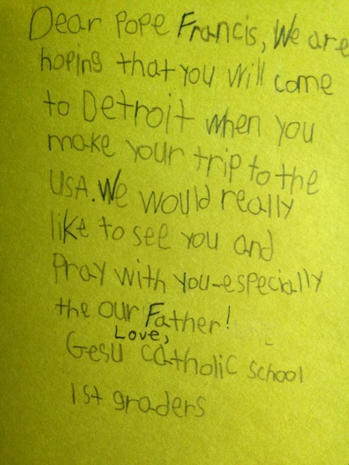 A student's letter in an effort to bring Pope Francis to Detroit.