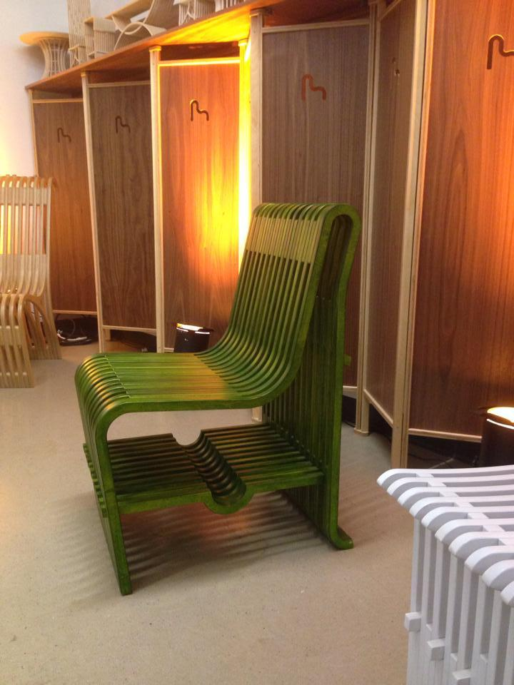 The green acid-washed chair by Mobel Link.
