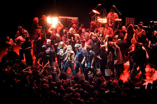 Iggy and The Stooges performing in a concert in London, England
