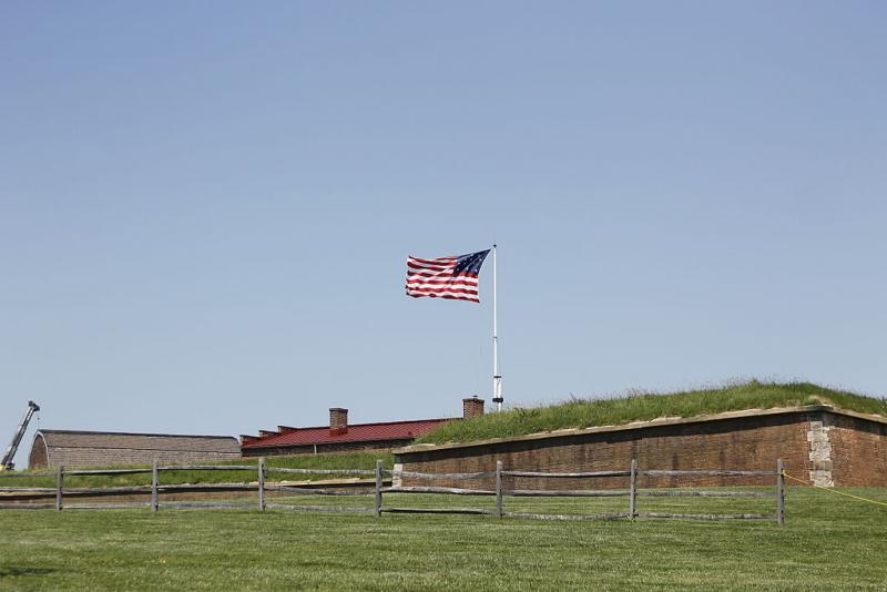 "The flag flying at Fort McHenry today. Francis Scott Key wrote the poem ""Defence of Fort McHenry"" on September 14, 1814. He was inspired by a battle he witnessed there."
