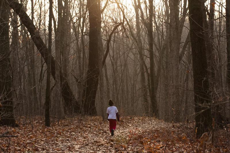 Hiking in Seidman Park in December of 2012.
