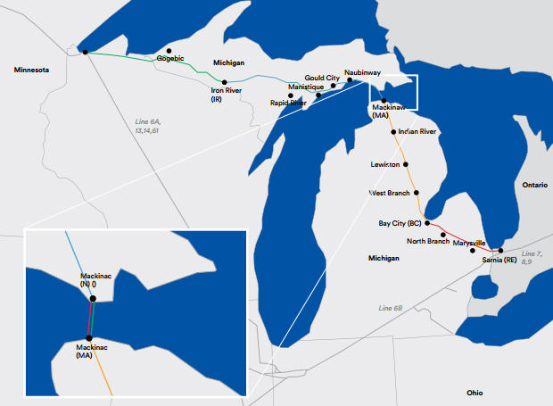 Enbridge Line 5 runs from Superior, Wisconsin to Sarnia, Ontario.