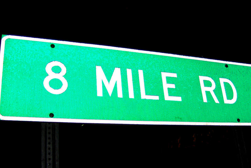 Road sign for 8 Mile Rd.