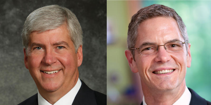 Republican Gov. Rick Snyder (left), and Democratic challenger Mark Schauer (right).