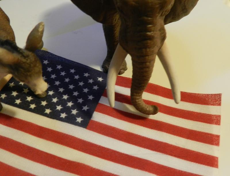 An American flag, an elephant and a donkey.