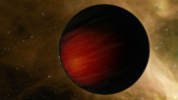 "An ""exoplanet"" orbiting a distant sun."