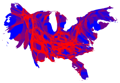 This cartogram depicts 2012 election results. It's a map adjusted for population size.