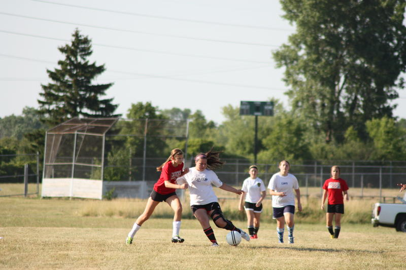 High school girls soccer match during the Flint Olympian Games.