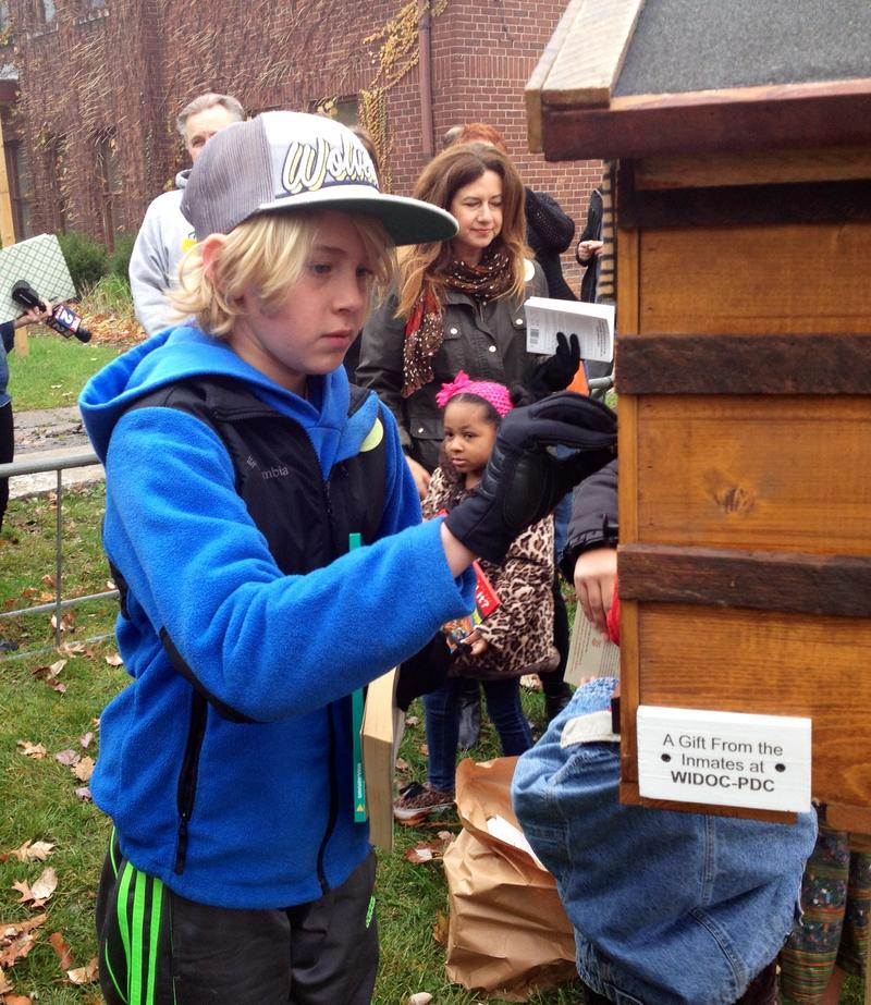 Ethan Janke, 11, helps put some books in his neighborhood's new Little Free Library.