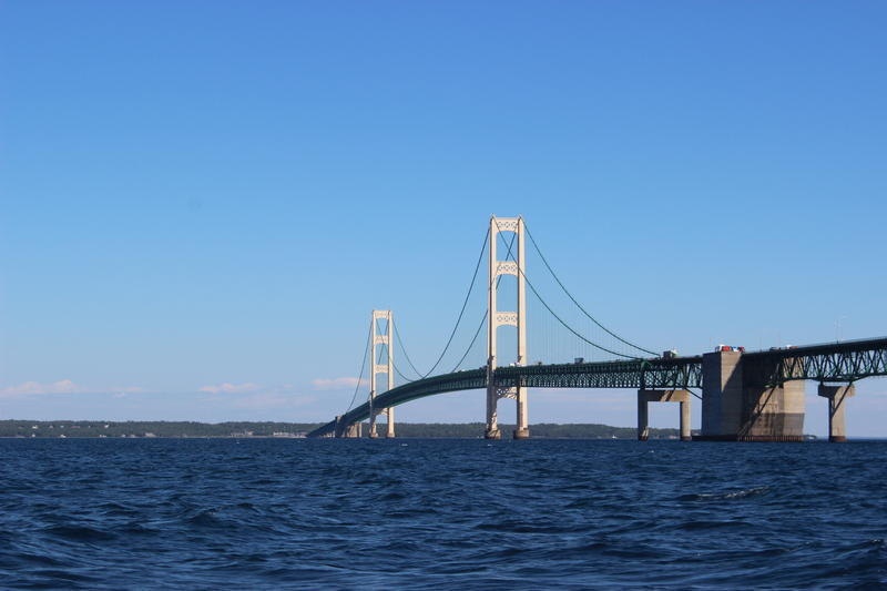 The Mackinac Bridge on a warmer day.