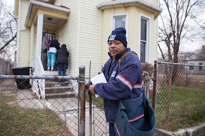 "Jerry Klipscomb has been delivering mail in Detroit for 29 years. ""There used to be houses on every lot."" (Alexandrine  and Elmwood streets)"