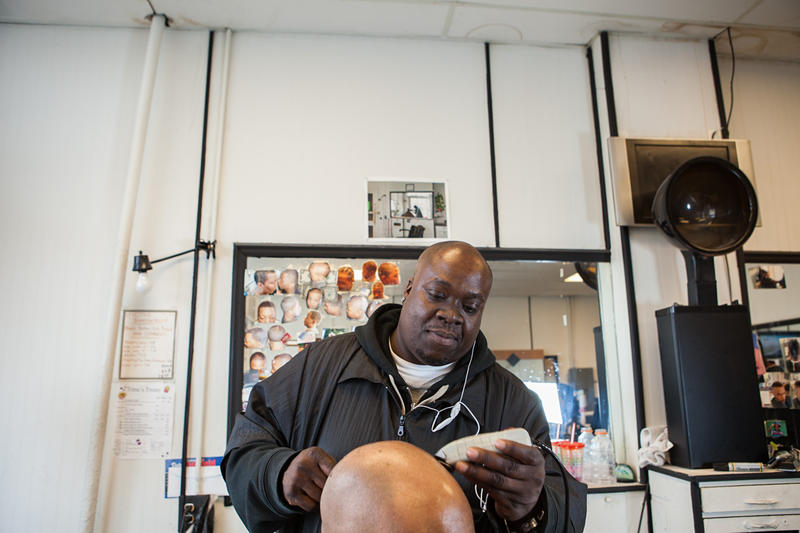 Broderick Gerald, a barber at Black Bottom Cuts, Eastside Detroit.