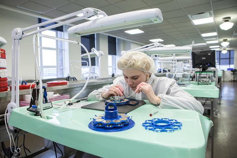 Ashley Boyc, 20, has been working on Shinola's movement assembly line for three months.