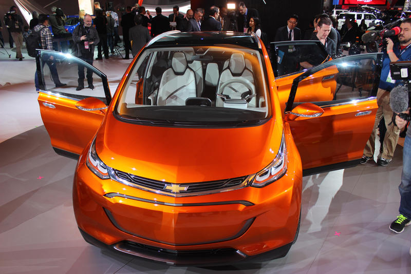 The all-electric Chevy Bolt concept has a range of up to 200 miles on one charge and at about $30,000, will be more affordable to the typical consumer.
