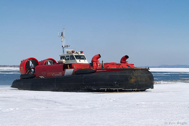 Hovercrafts float on air and are used in ice rescues
