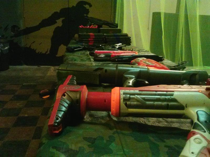 Foam dart guns used in dart battles.