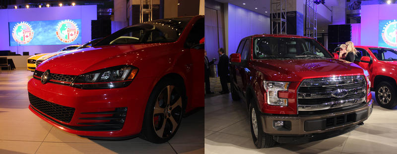 The 2015 VW Golf (left), and the 2015 Ford F-150 (right) at the North American International Auto Show.