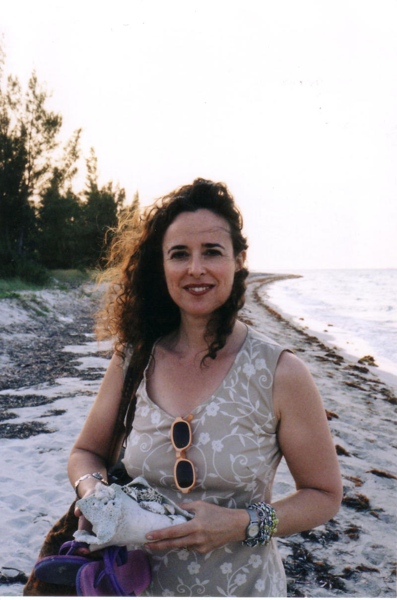 Ruth Behar in Cuba on the beach.