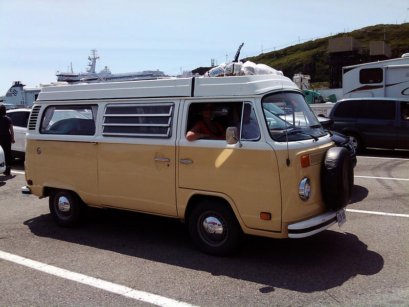 A Type 2 VW van in Canada gets ready to board a ferry in Newfoundland.