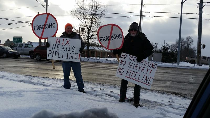 Anti-pipeline activists outside Nexus pipeline meeting, Wadsworth, Ohio.
