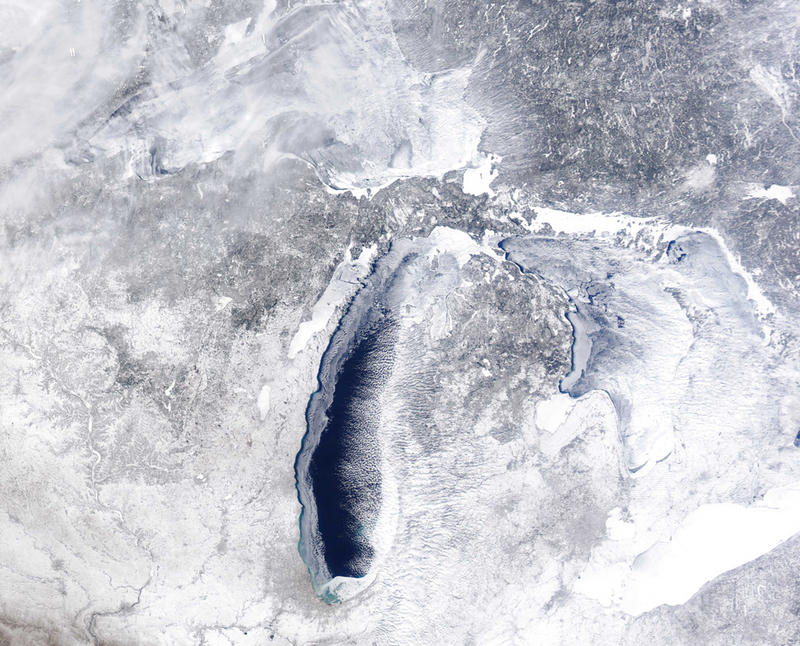 How the Great Lakes look from space as of yesterday (Feb. 23, 2015).