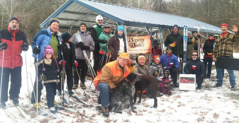 "From the ""2015 Brighton Rec Snow Flow Ski Show."" Thirty people skied casual hiking trails that afternoon, circling back from time to time for bonfire warmth and refreshments. Organizer Jeff Potter on far right."
