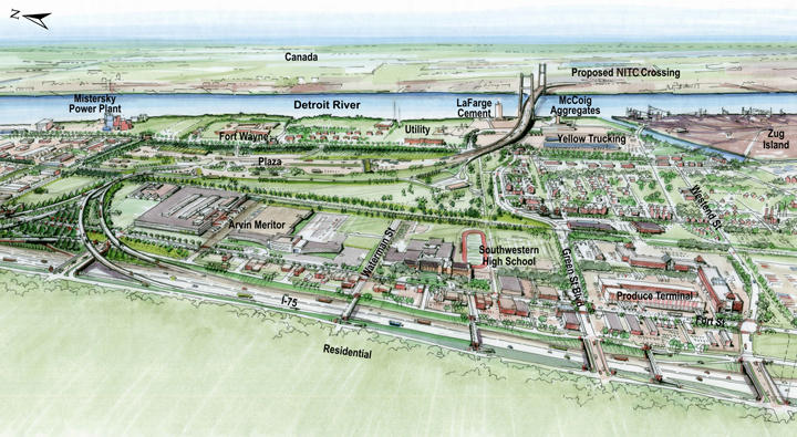 A drawing of where the New International Trade Crossing will be located.