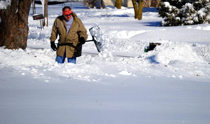 Shoveling in Tecumseh, Michigan.