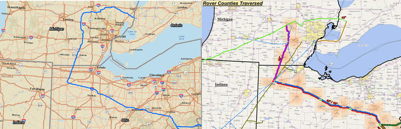 The ET Rover natural gas pipeline's planned route in Michigan has changed. You can see the oringal planned route on the left, and the revised plan on the right.