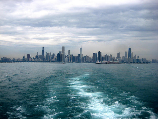 chicago skyline from lake michigan with wake