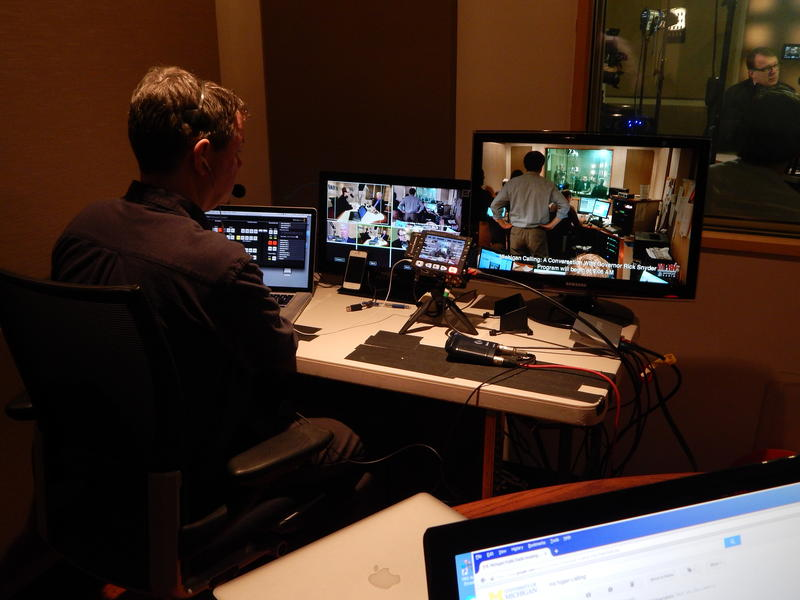 Chris McElroy monitors the video feed for Michigan Calling.