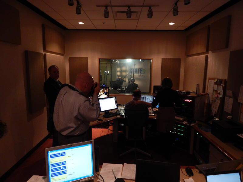 Inside Michigan Radio's control room east for Michigan Calling with Gov. Snyder.