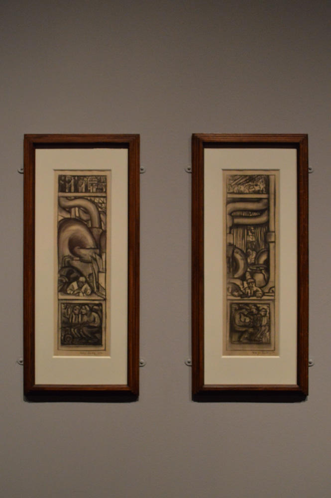 Rivera's sketches of machinery for the Detroit Industry Murals.