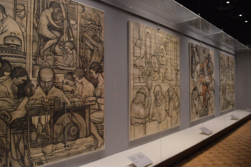 Early sketches by Diego Rivera while he was planning the Detroit Industry Murals.
