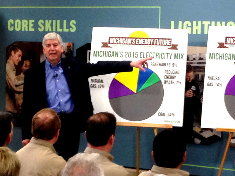 Gov. Snyder presented his goals for energy policy in Michigan Friday at an electrician training facility in Warren.