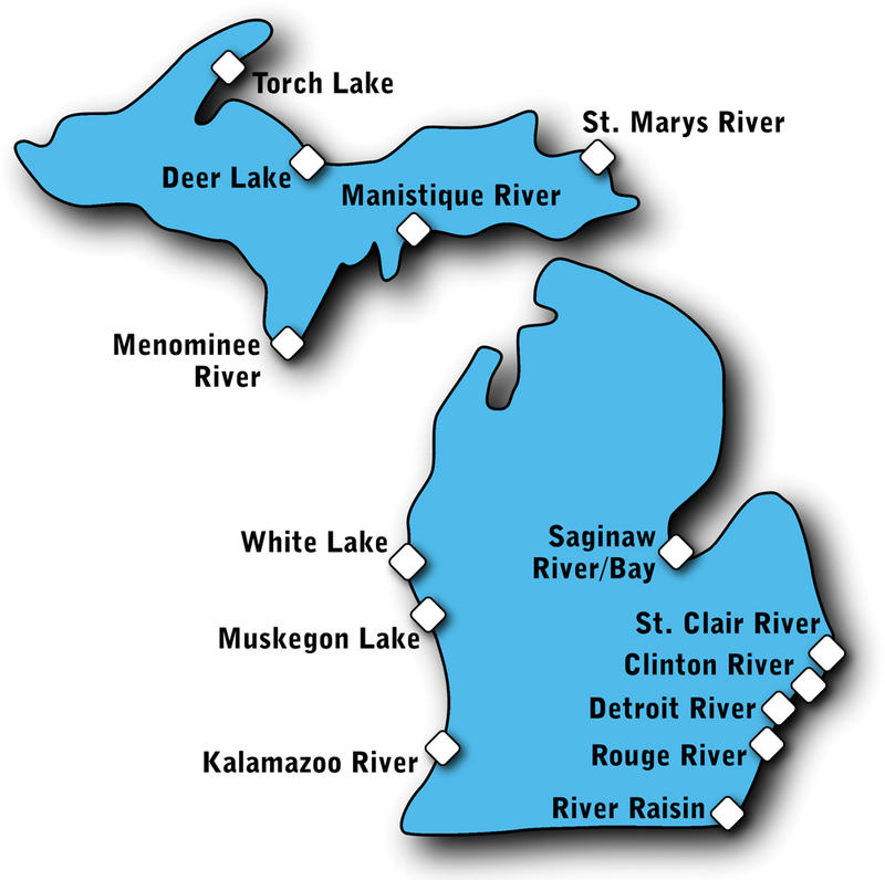 "Toxic hotspots, or ""Areas of Concern"" around Michigan's shoreline."