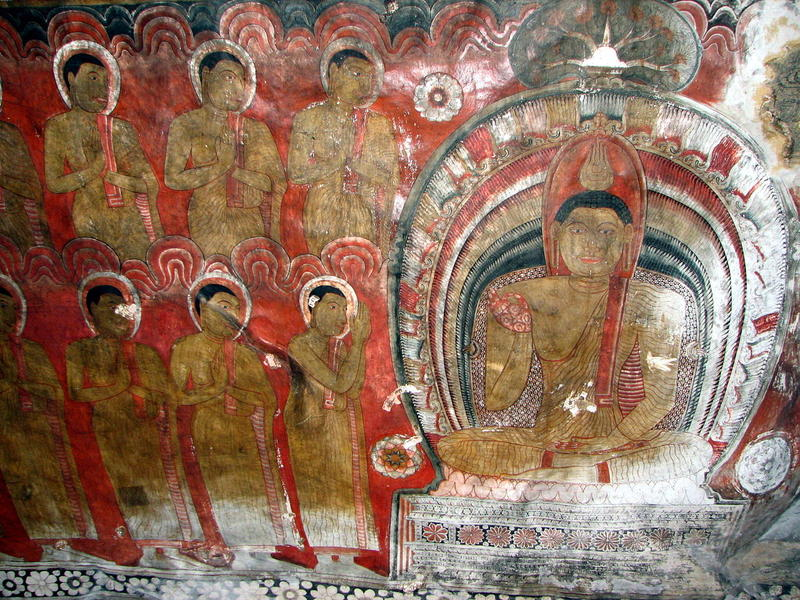 Buddha painting in Dambulla cave temple in Sri Lanka. People in Sri Lanka have practiced Theravada Buddhism for centuries.