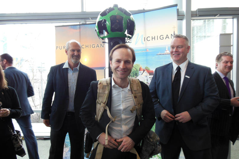 "Michigan Lt. Gov. Brian Calley wears the ""Google Trekker."""