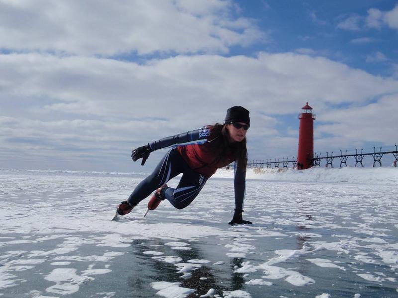 Skating on Lake Michigan by the Grand Haven lighthouse.