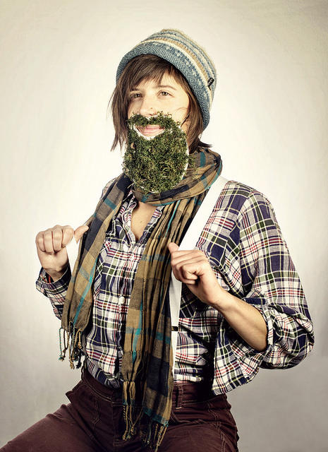 Jenny Hebert brought her own homemade beard to her photo shoot.