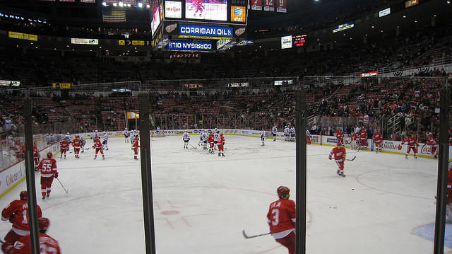 red wings warming up before a game
