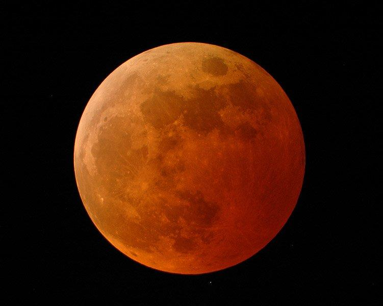 A Blood Moon visible during a total lunar eclipse.