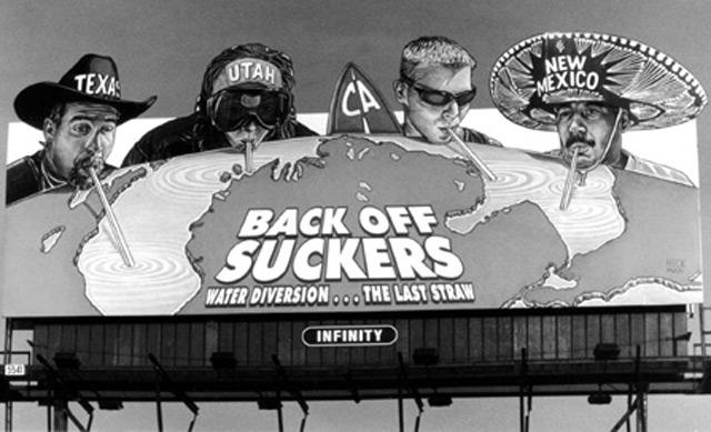 This billboard was displayed along several major highways in Michigan in early the 2000s. The sponsors were hoping to raise awareness about water diversion, but do these arid states really pose a threat to the Great Lakes?