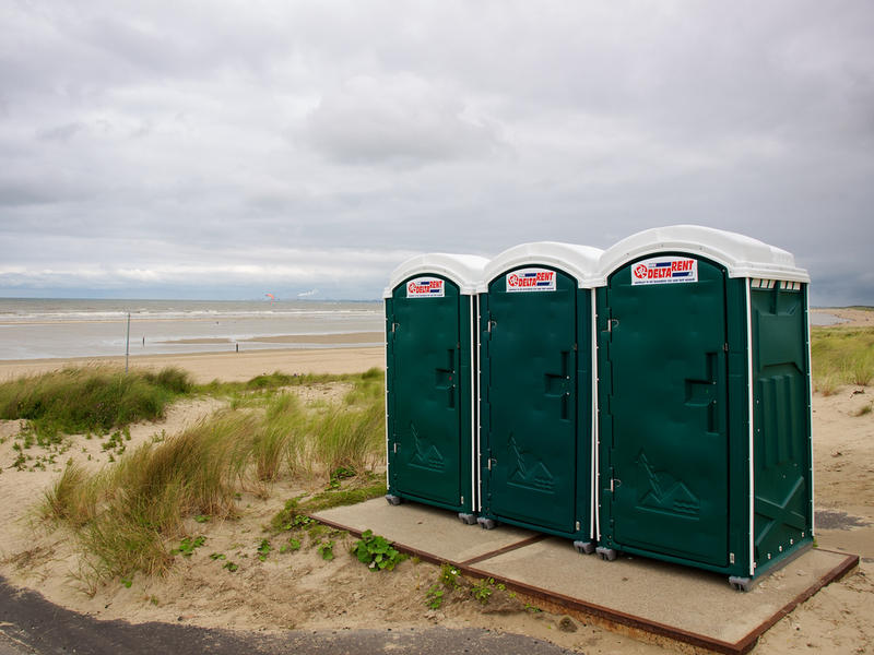 Porta potties in a lovely setting.