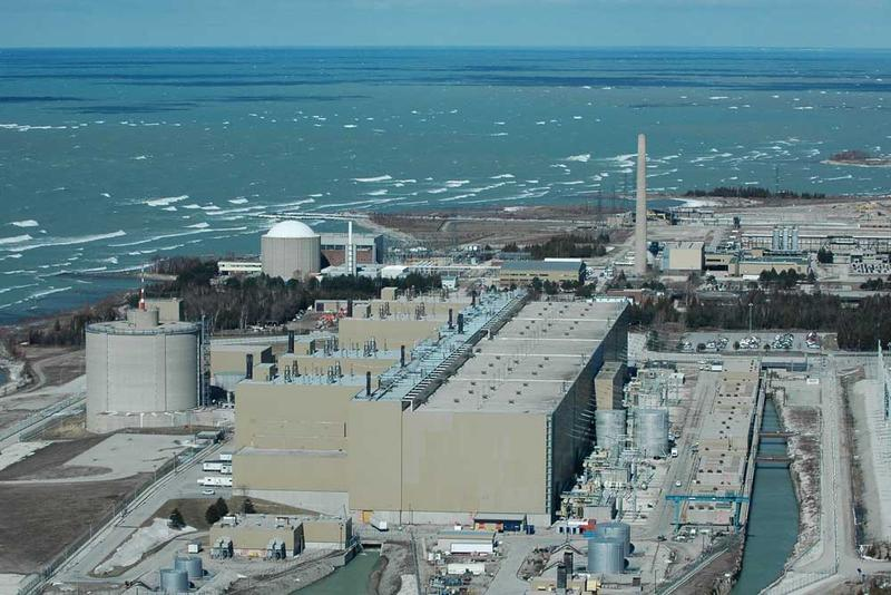 Aerial photo of the Bruce Nuclear Generating Station near Kincardine Ontario.