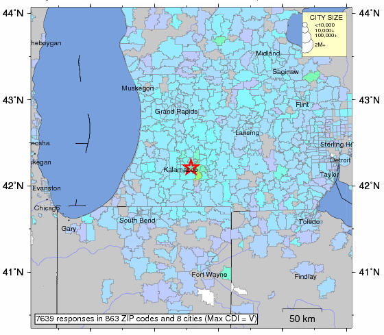 An image from the USGS showing the epicenter of today's earthquake in Michigan.