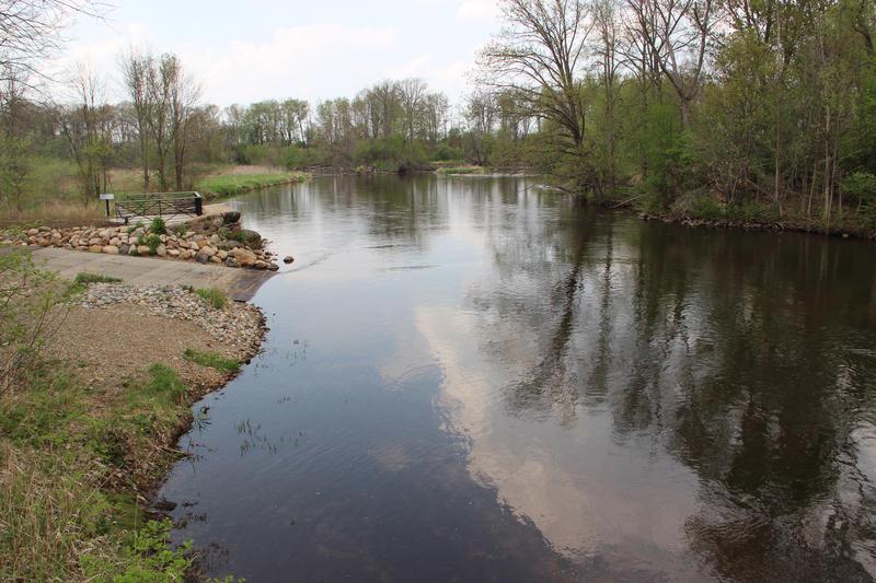 The Kalamazoo River at Saylor's Landing in Marshall, Michigan.